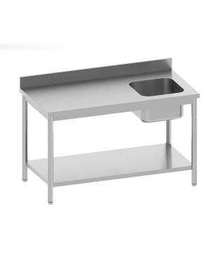 Table de chef adossée avec étagère 1 bac