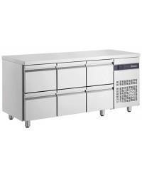 Table gastronorme GN1/1 - Dessus inox - Froid ventilé 0 à +10°C - PNR222 - 425 L - 6 tiroires - 1790x700x870 mm