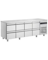 Table gastronorme GN1/1 - Dessus inox - Froid ventilé 0 à +10°C - PNR2222 - 588 L - 8 tiroires - 2240x700x870 mm