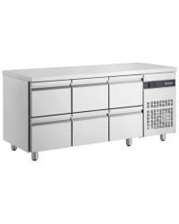 Table gastronorme GN1/1 - Dessus inox - Froid ventilé 0 à +10°C - PNR22 - 270 L - 4 tiroirs - 1345x700x870 mm
