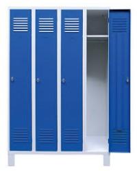VESTIAIRE 2 CASES EN TOLE 8/10 - GRIS / BLEU MORAILLON SUR PIED - 800X500X1940